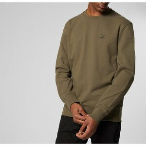 CP Company Crew Sweater Fleece Logo Groen
