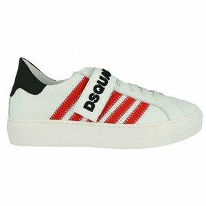 Dsquared Sneaker Stripe Wit Rood Zwart
