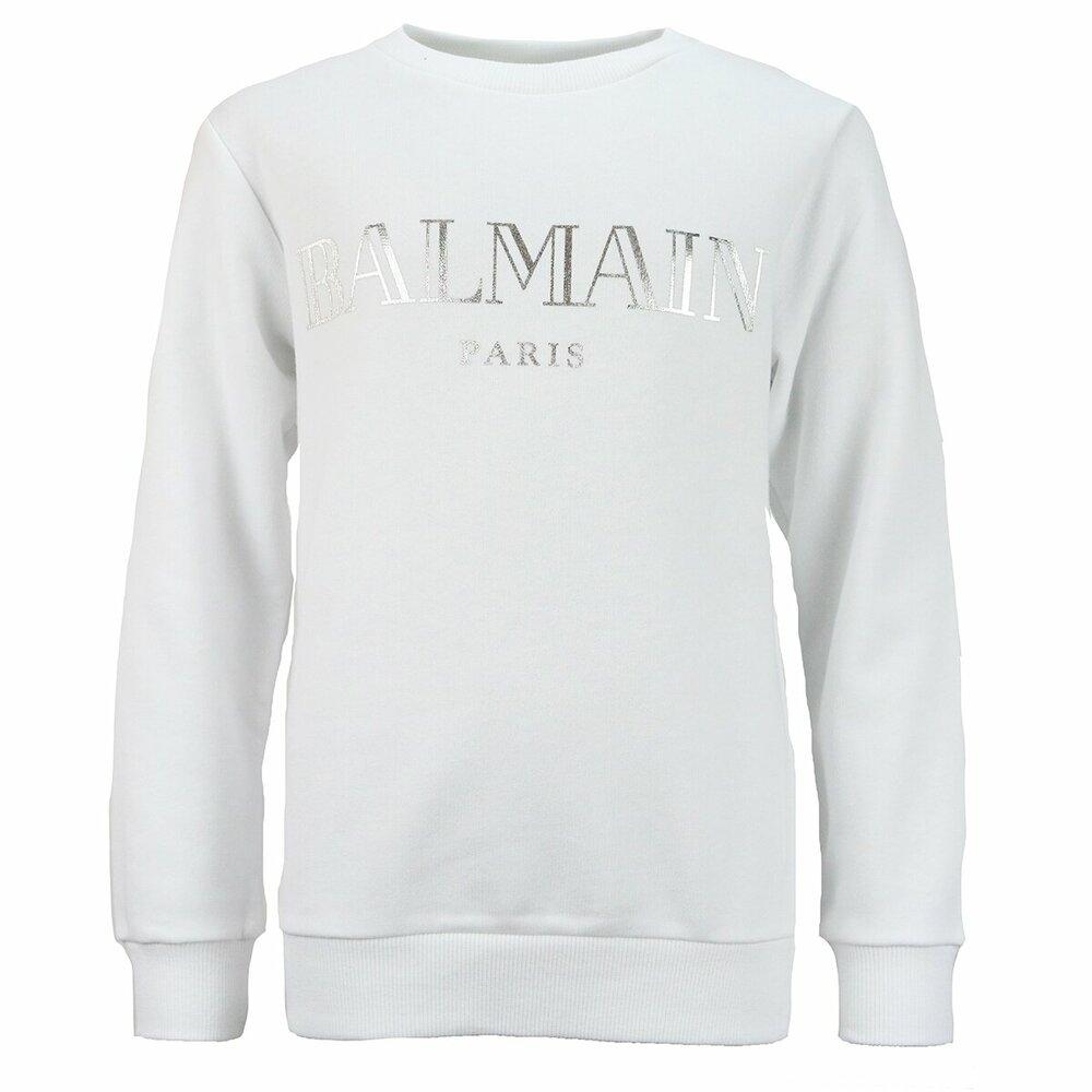 Balmain sweater wit met zilveren print