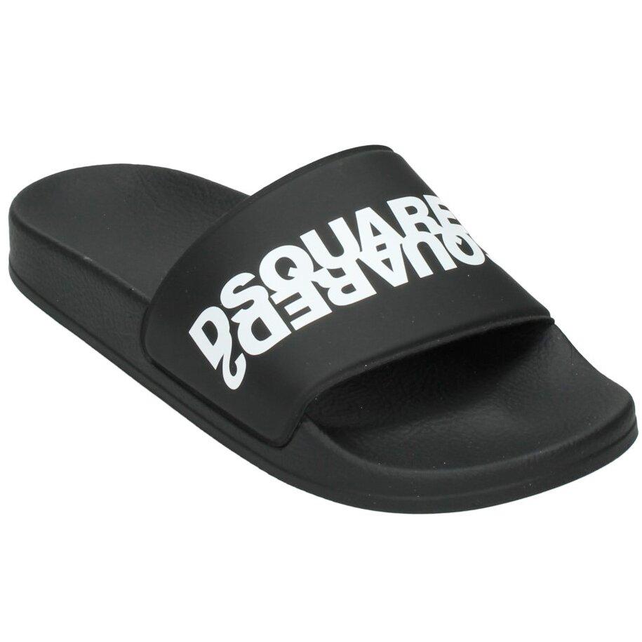 Dsquared² Badslippers Zwart met Wit logo 67093
