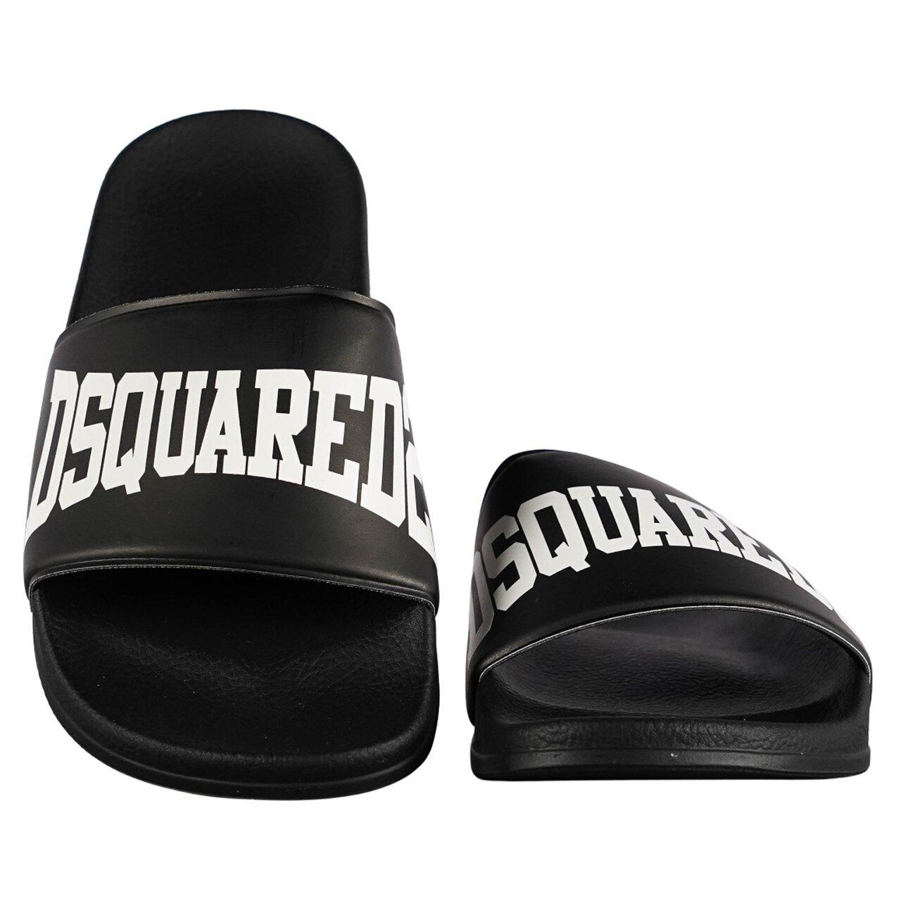 Dsquared² Badslippers Zwart met Wit logo DQ0330