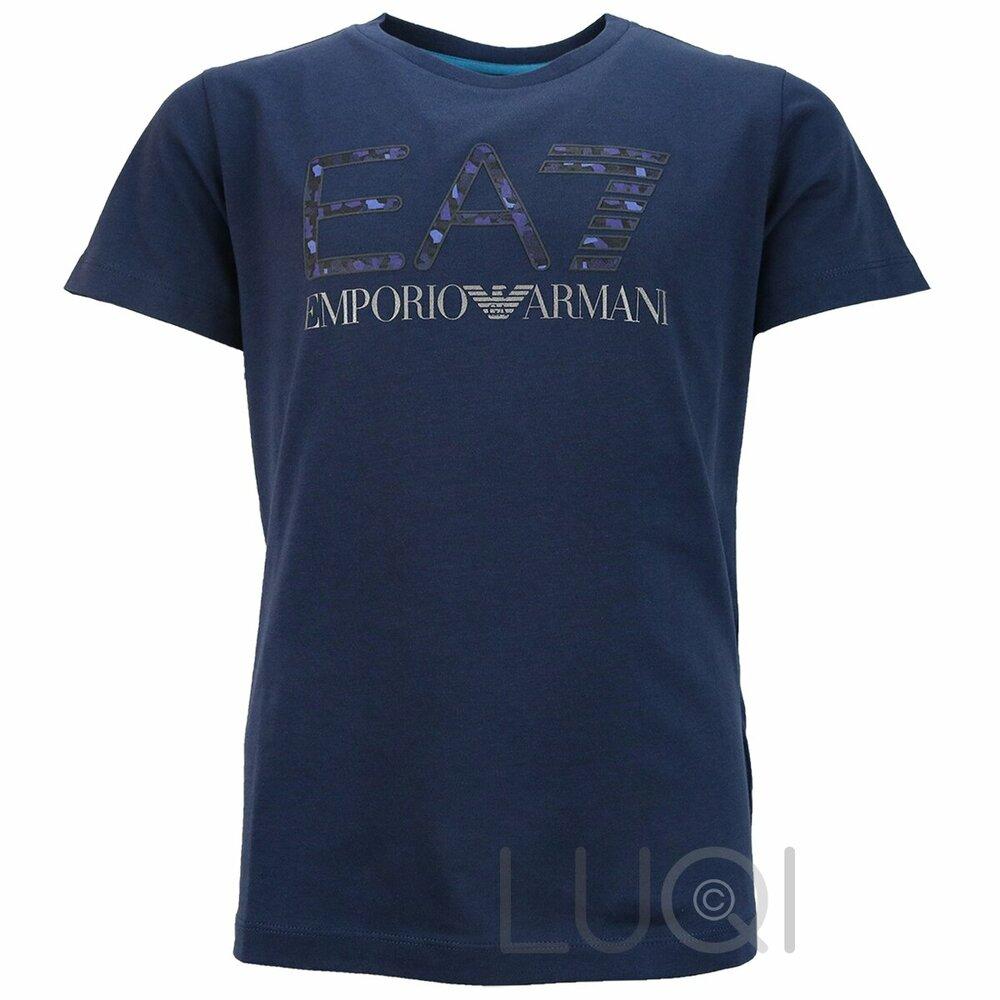 EA7 Logo Shirt Blauw Camou