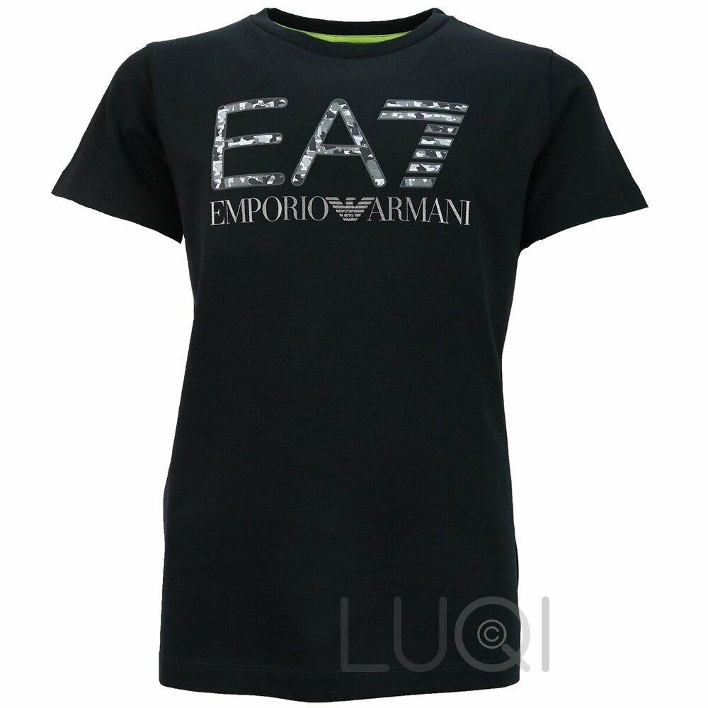 EA7 Logo Shirt Zwart Camou