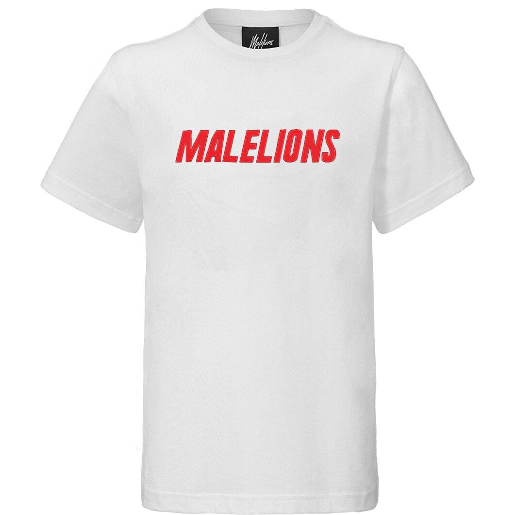 Malelions Junior Nium T-Shirt - White/Red