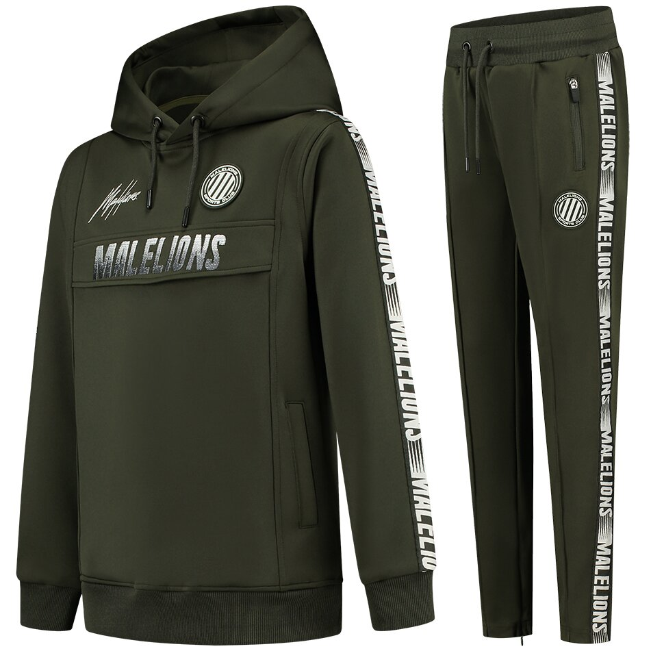 Malelions Sport warming up Tracksuit Army Off White met gratis Pet