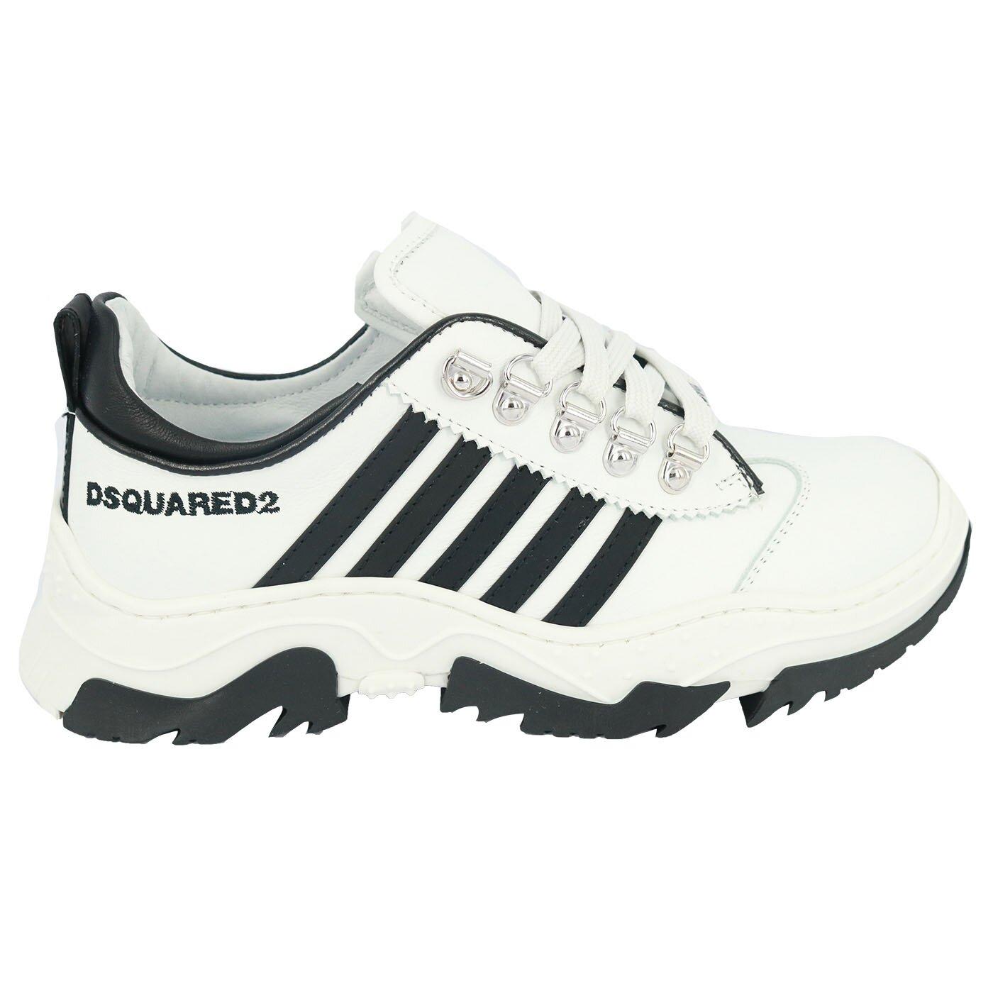 Dsquared2 Sneakers wit met zwarte strepen